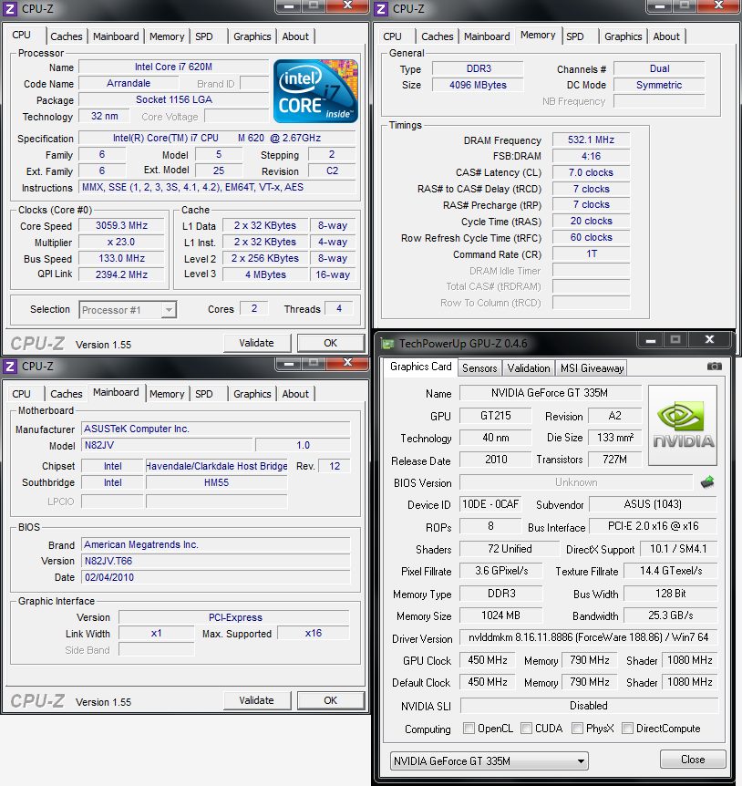 cpuz Review : Asus N82JQ Notebook & USB 3.0 Performance
