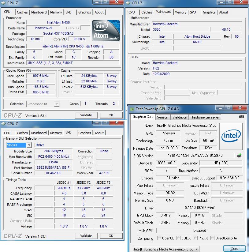 cpuz Review : HP Mini 210 & new Intel Atom Pineview