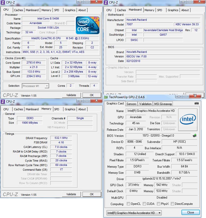 cpuz Review : HP Elitebook 2740p
