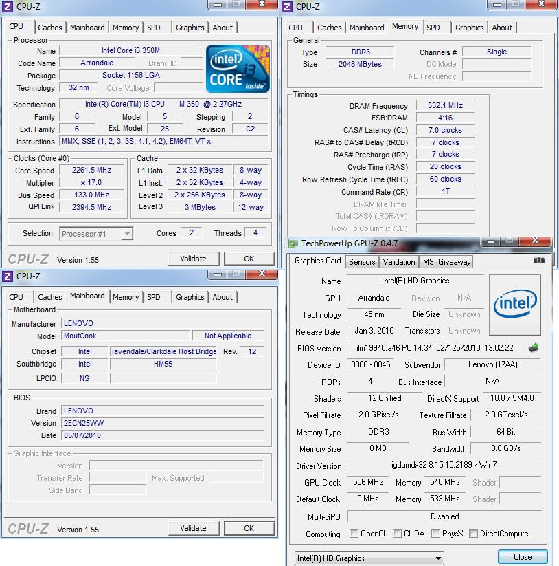 cpuz Review : Lenovo Ideapad B460