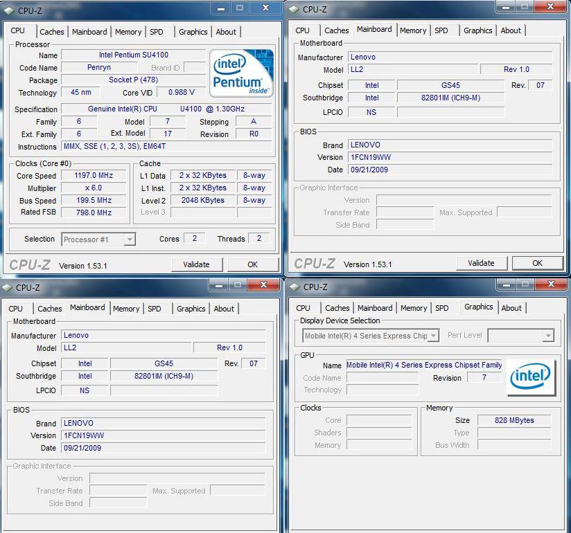 cpuz Review : Lenovo Ideapad U150