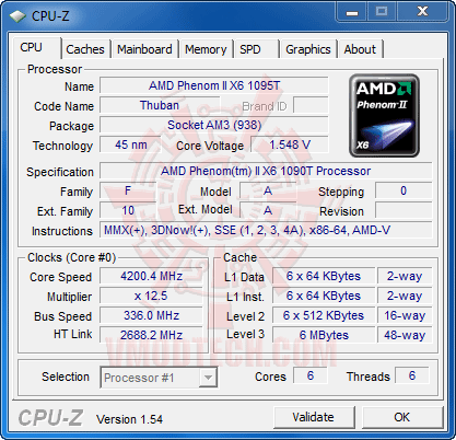 c1 4200 AMD Phenom II X6 1090T Black Edition Overclock Results