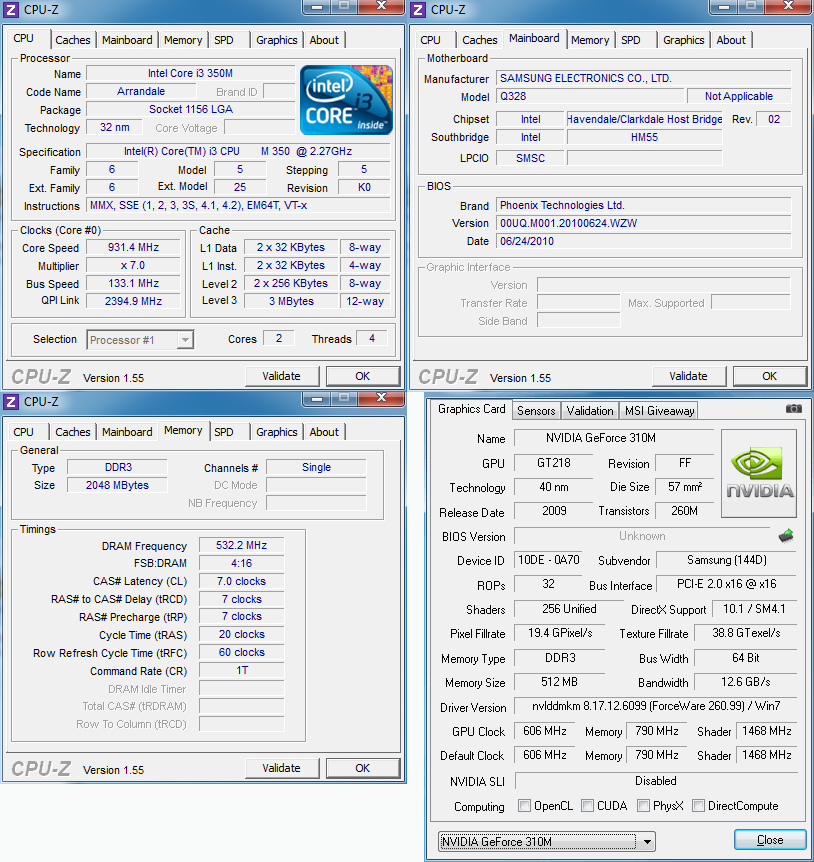cpuz Review : Samsung Q328 notebook