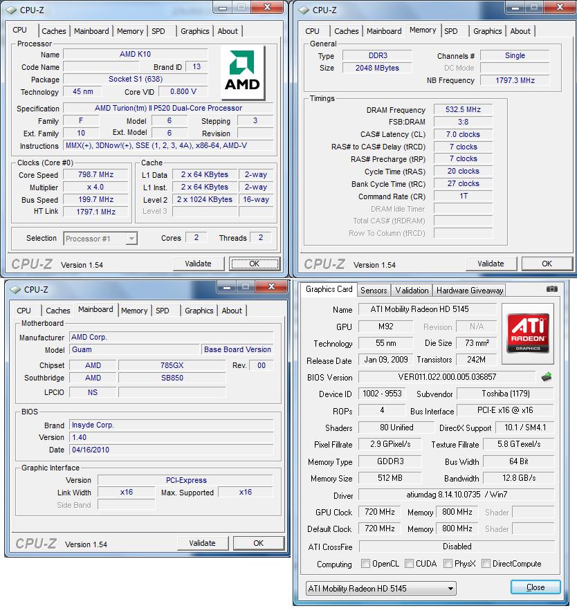 cpuz Review : Toshiba Satellite L640 (AMD Turion II P520)