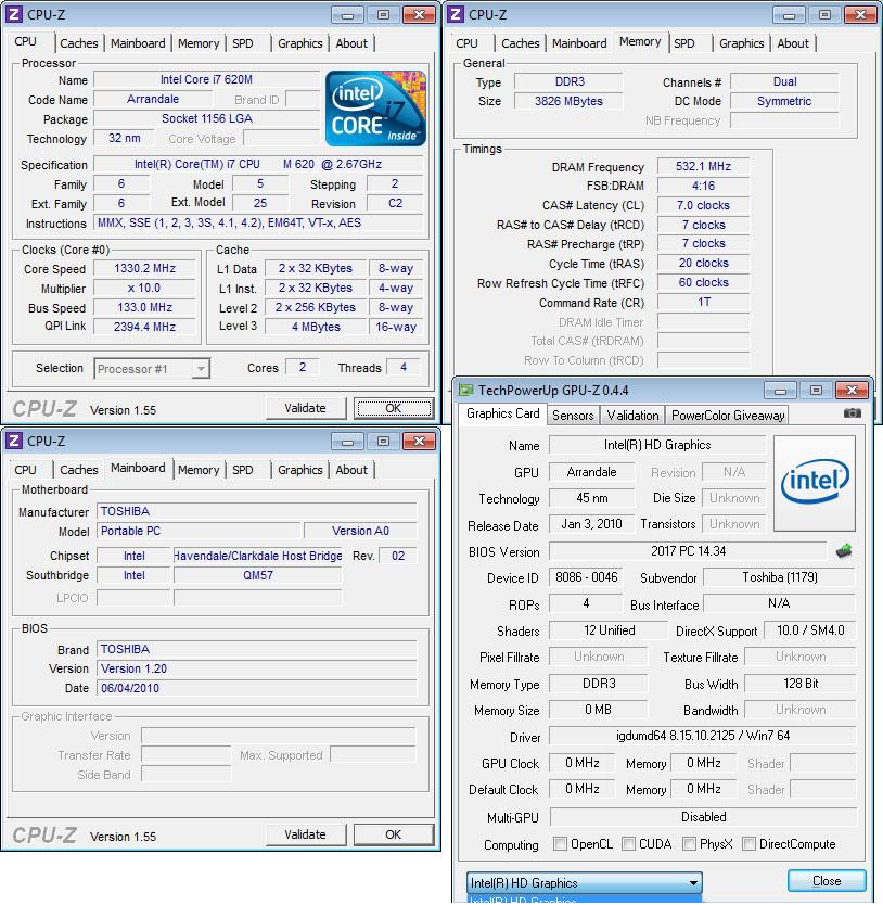 cpuz Review : Toshiba Portege R700